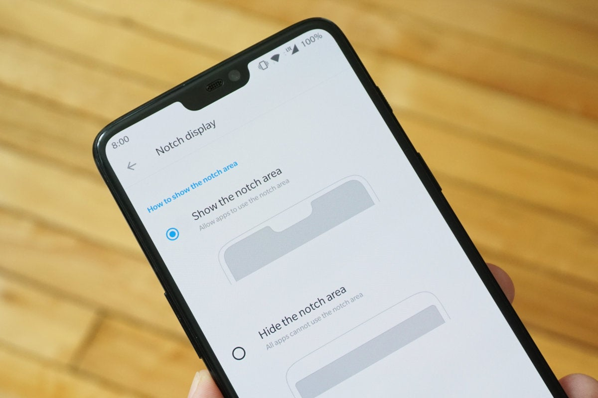 hide notch OnePlus 6