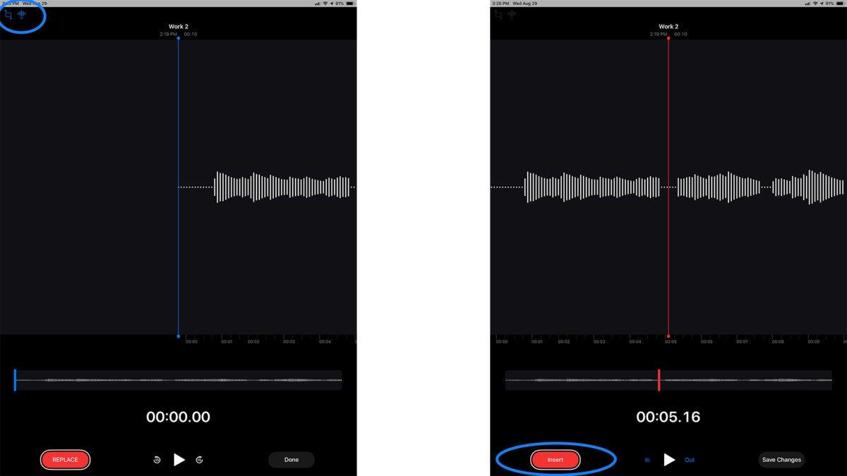 ios12 voice memo insert