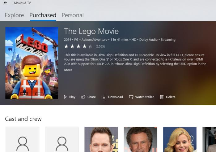 movies & tv app xbox one