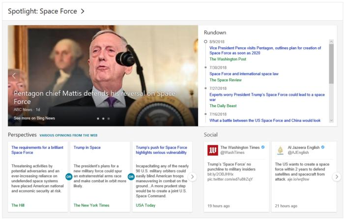 Microsoft Bing spotlight news mp space force