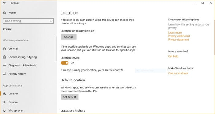 Windows 10 privacy location tracking