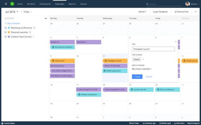 Wrike project task listing calendar view