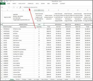06 enter calculate formulas in master for multiple sheets