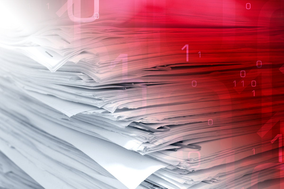 1 volume of data breach pile of paper confidential documents