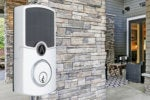 The Array by Hampton Connected Door Lock operates on Wi-Fi and is powered by the sun