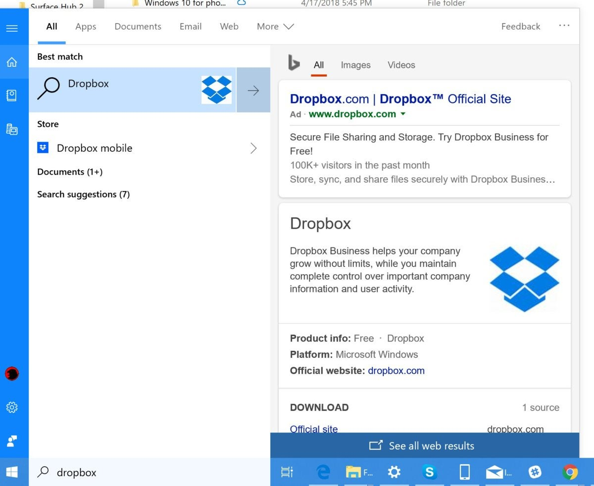 Microsoft Windows 10 October 2018 Update expanded search box