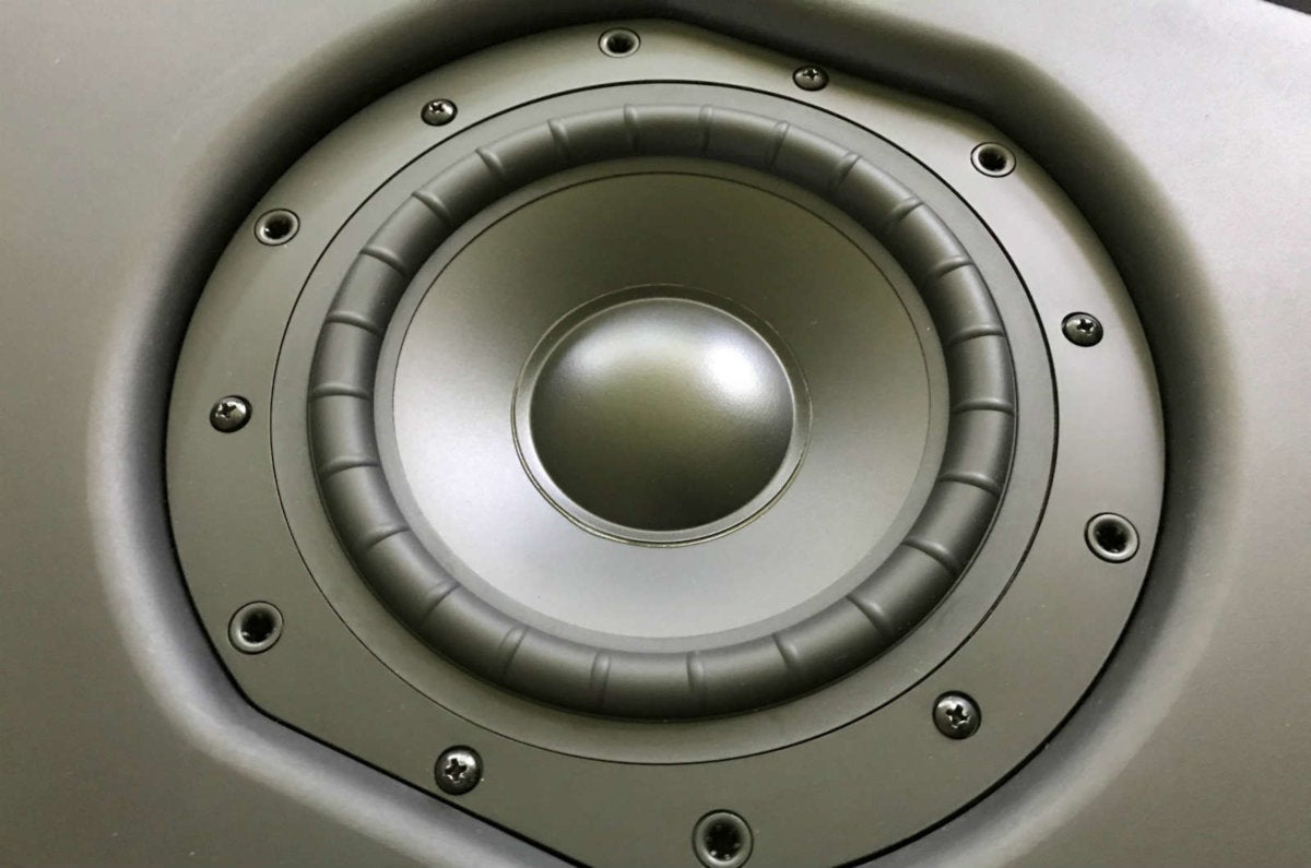 Detail view of the Pulse Subwoofer's driver.