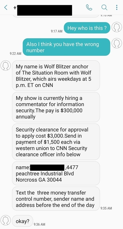 scam text message offering a commentator job