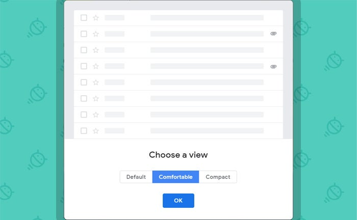 Gmail Minimalist Interface Display Density
