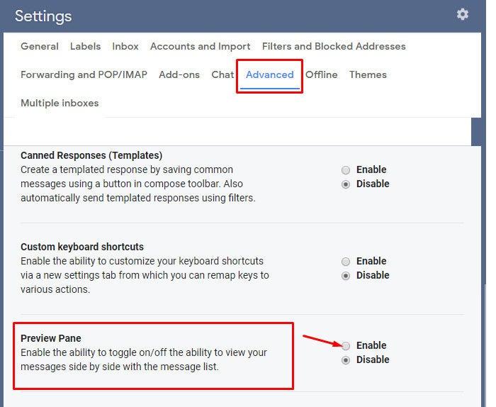 gmail settings preview pane