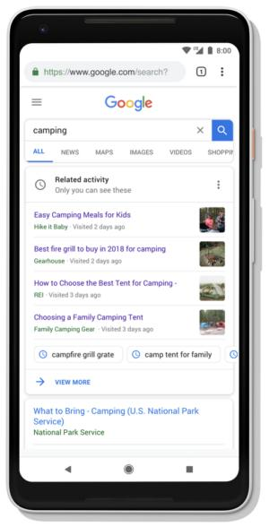 google search activity cards