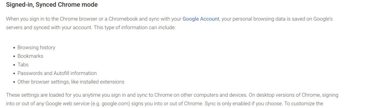 google sync privacy policy