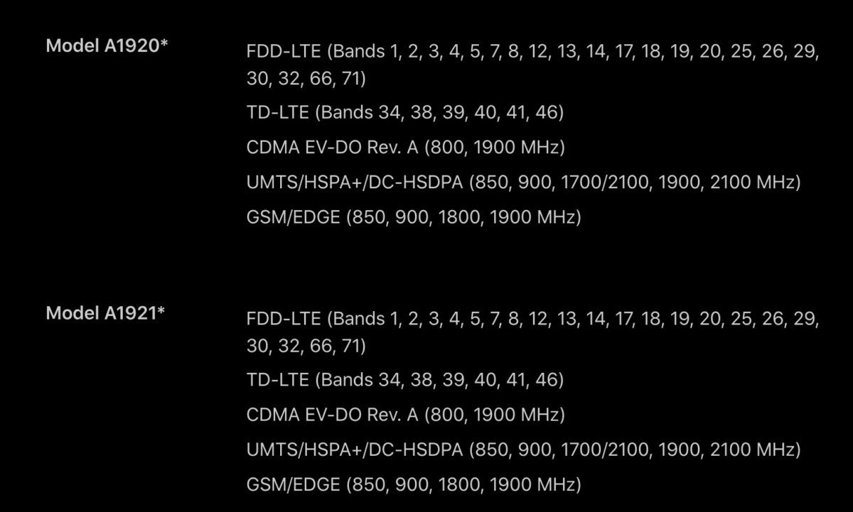 iphone xs specs modems