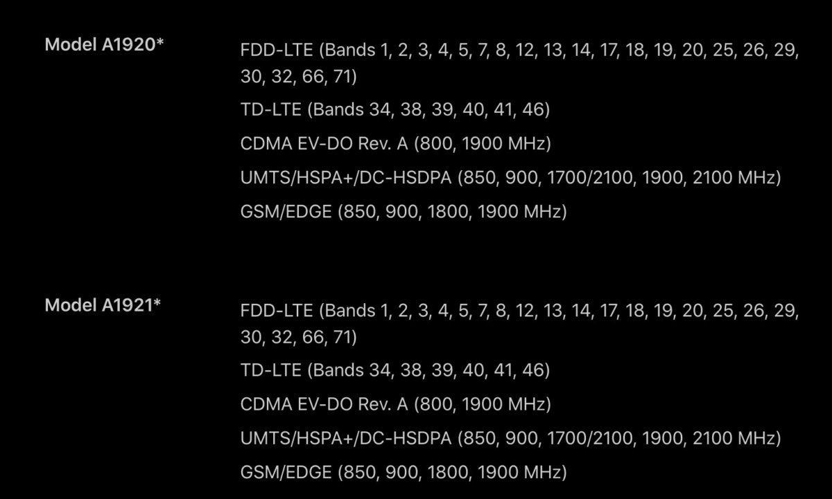 iphone xs specs modems