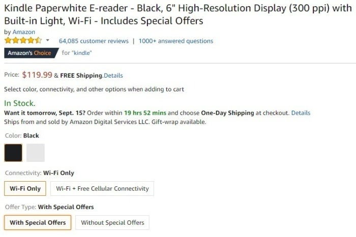 Kindle Paper White With Special Offers