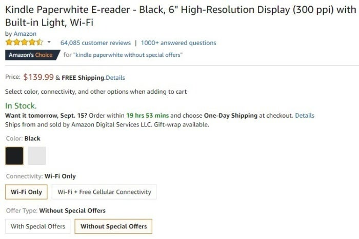 kindle paperwhite without special offers