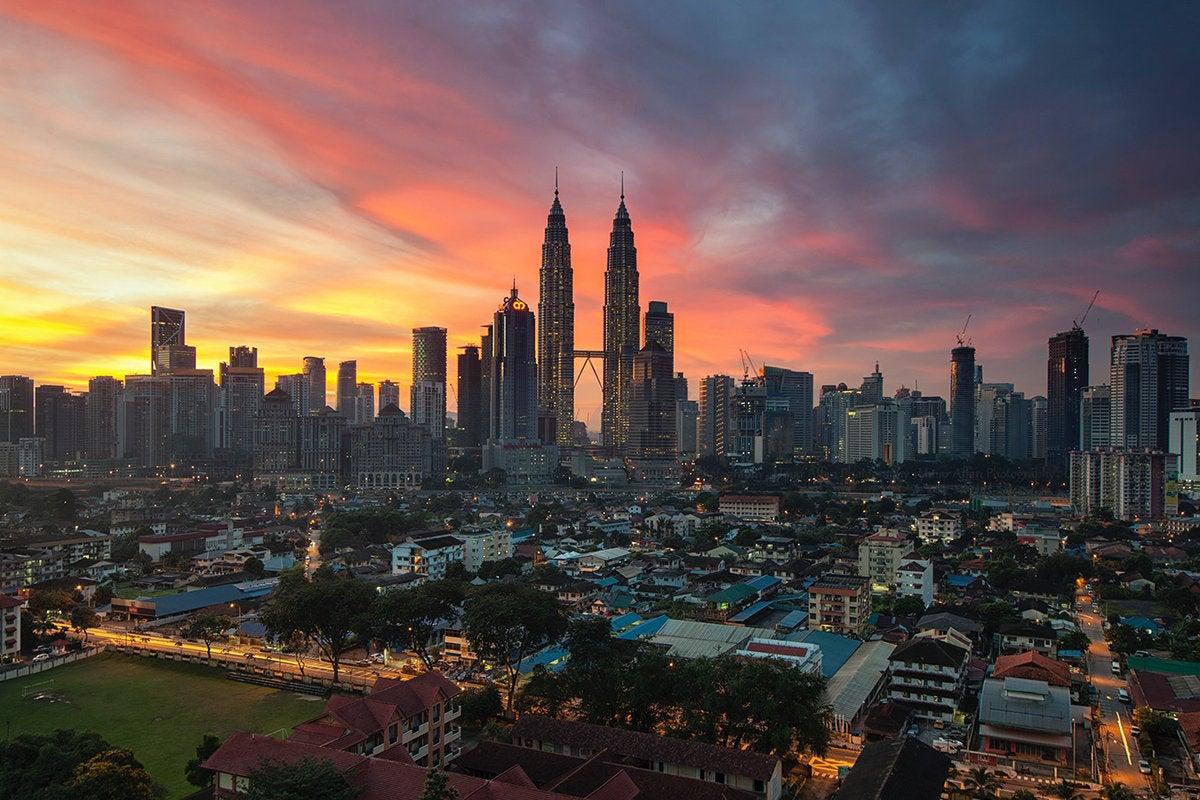 Kuala Lumpur skyline at sunset, Malaysia, Southeast Asia