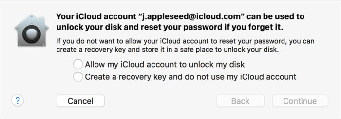 mac911 filevault recovery key choice apple
