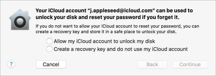 mac911 filevault recovery key choice apple