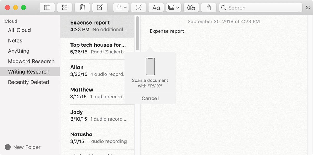 macos notes scan iphone