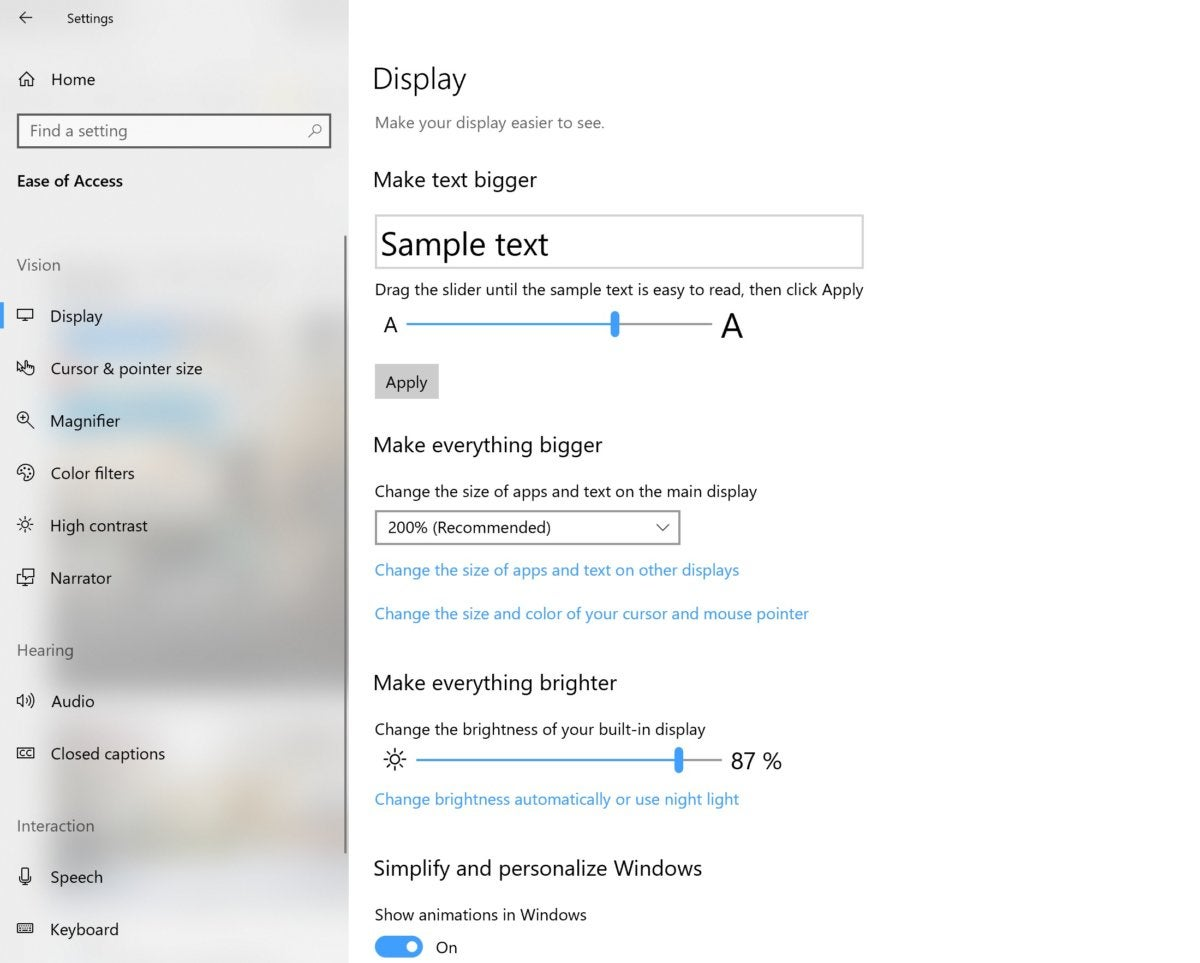 make everything bigger Microsoft Windows 10 October 2018 update