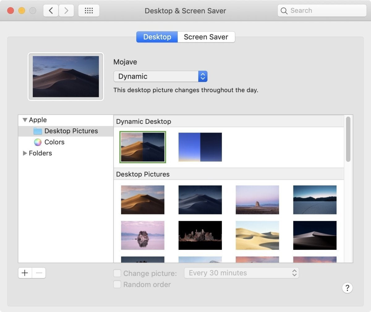 mojave dynamic desktop menu