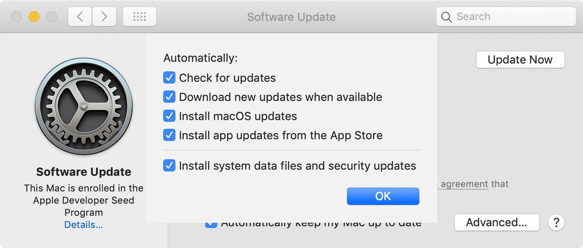 mojave system preference software update options