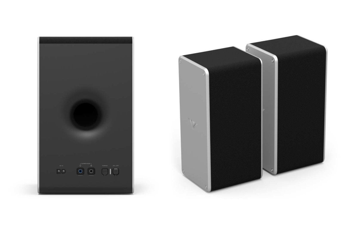 The surround speakers connect to the back of the subwoofer with the included RCA-terminated speaker