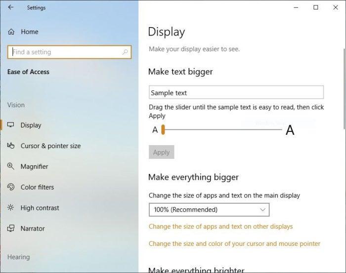 Windows 10 October 2018 Update display make text bigger