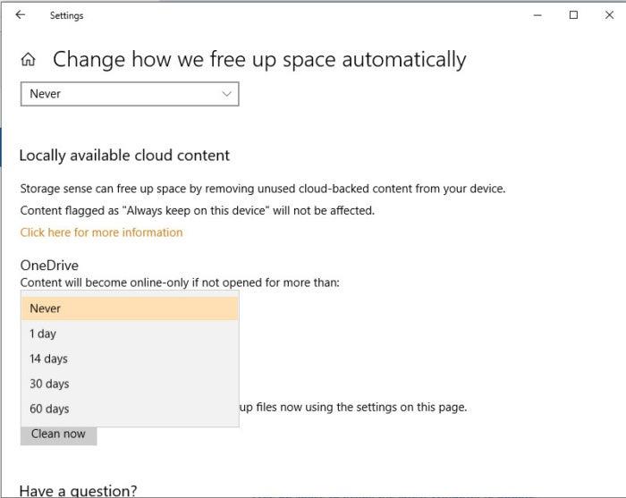 Windows 10 October 2018 Update Storage Sense settings
