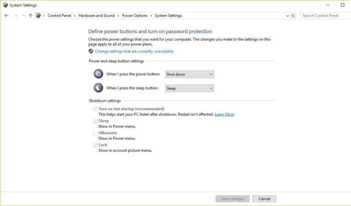 Windows 10 system settings fast startup