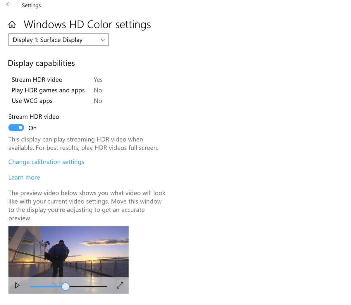 windows hd color settings Windows 10 October 2018 microsoft