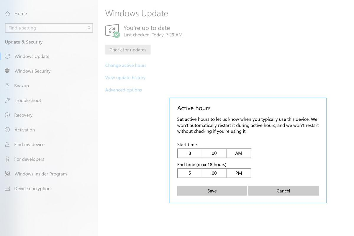 Microsoft Windows 10 active hours