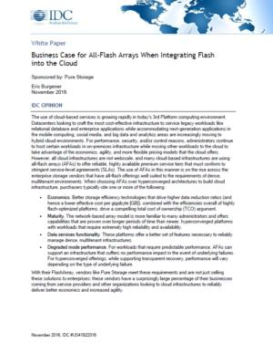 IDC: Business Case for All-Flash Arrays When Integrating Flash into the Cloud
