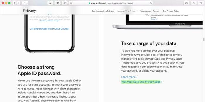 apple visit data privacy link