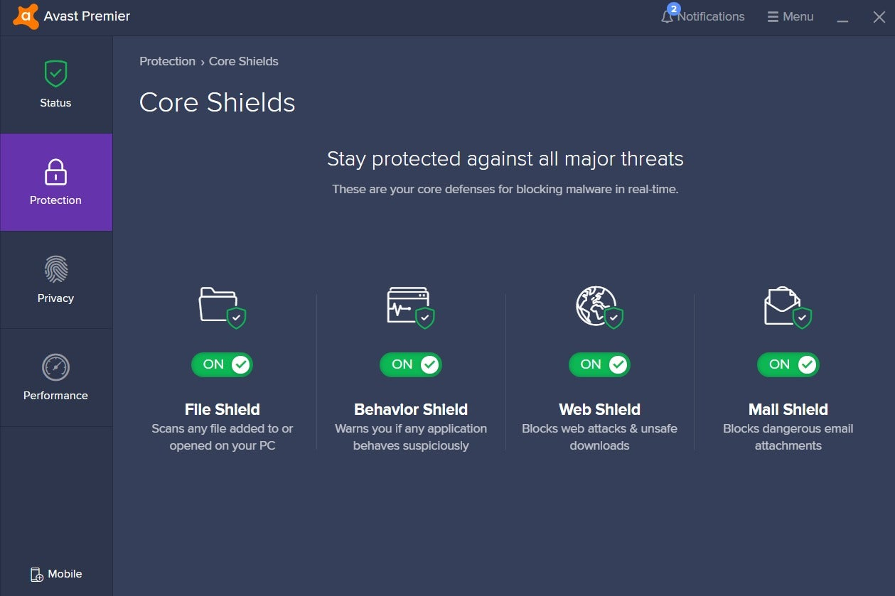 how to turn on sensitive data shield on avast premier
