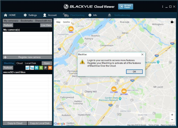 blackvue cloud viewer after clicking on car