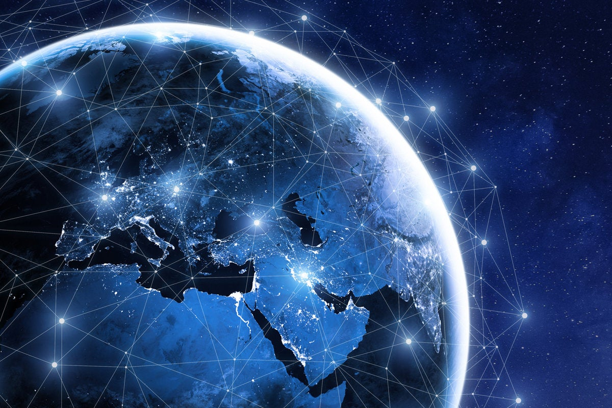 blue globe world network global transformation connected global connection
