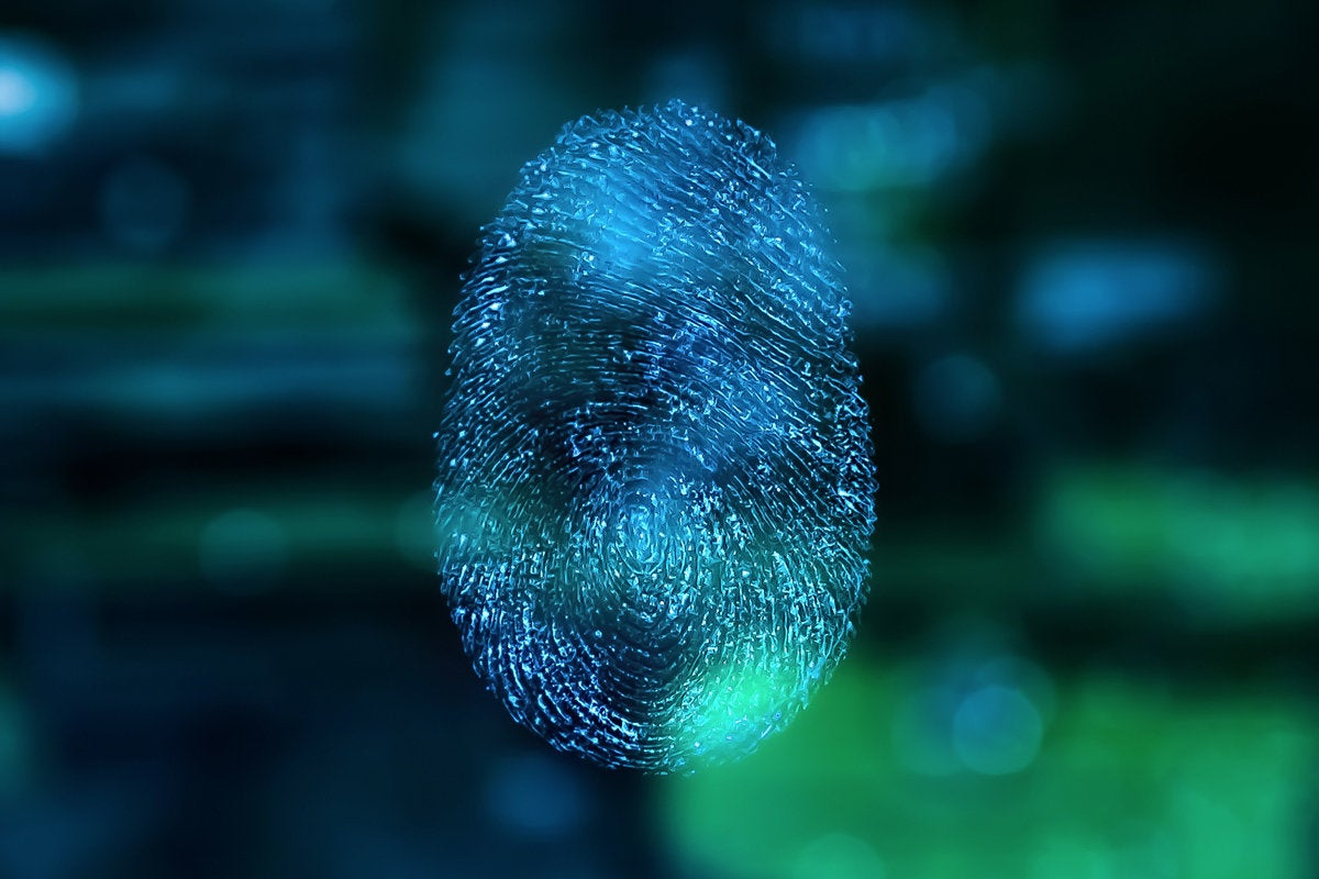 blue green abstract finger print identity bio security fingerprint