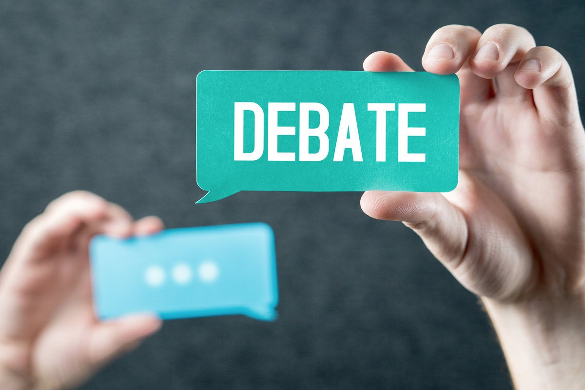 debate speech balloons thought bubble hands holding bubbles argue disagree