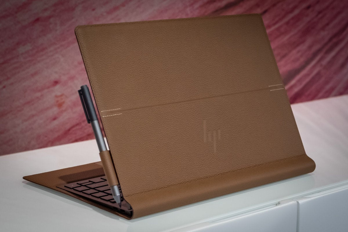 hp spectre folio lid detail