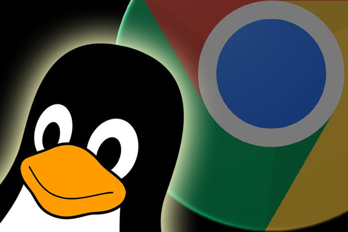 linux mascot tux penguin and chrome logo