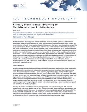 IDC TECHNOLOGY SPOTLIGHT: Primary Flash Market Evolving to Next Generation Architectures