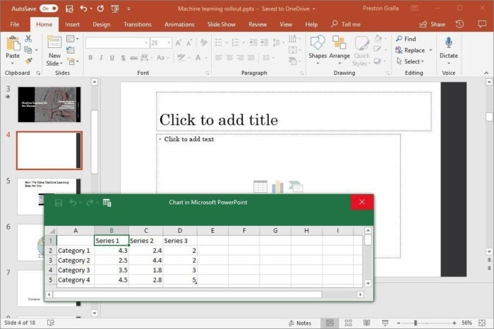 powerpoint 2016 add chart