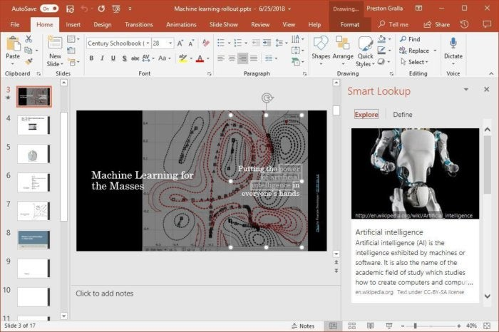 powerpoint 2016 smart lookup