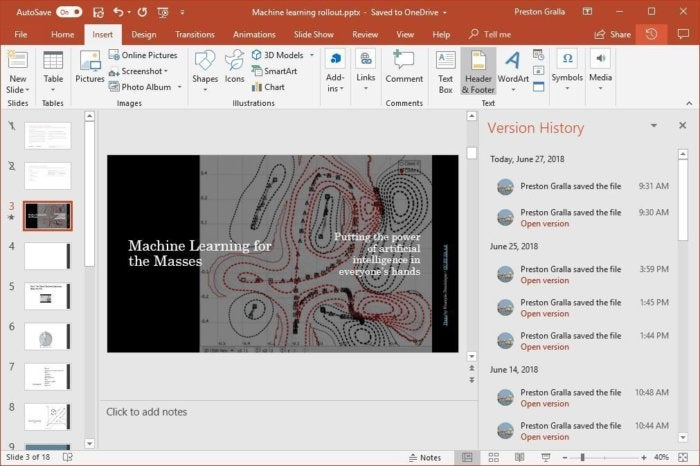 powerpoint 2016 version history