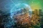 spinning globe smart city iot skyscrapers city scape internet digital transformation