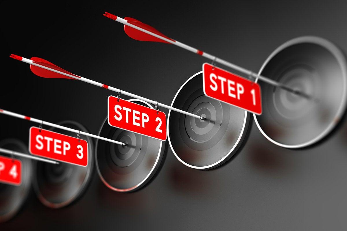 step four bullseye target process path direction arrow