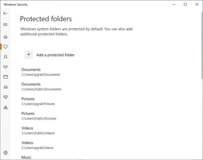 win10 oct2018 protected folders