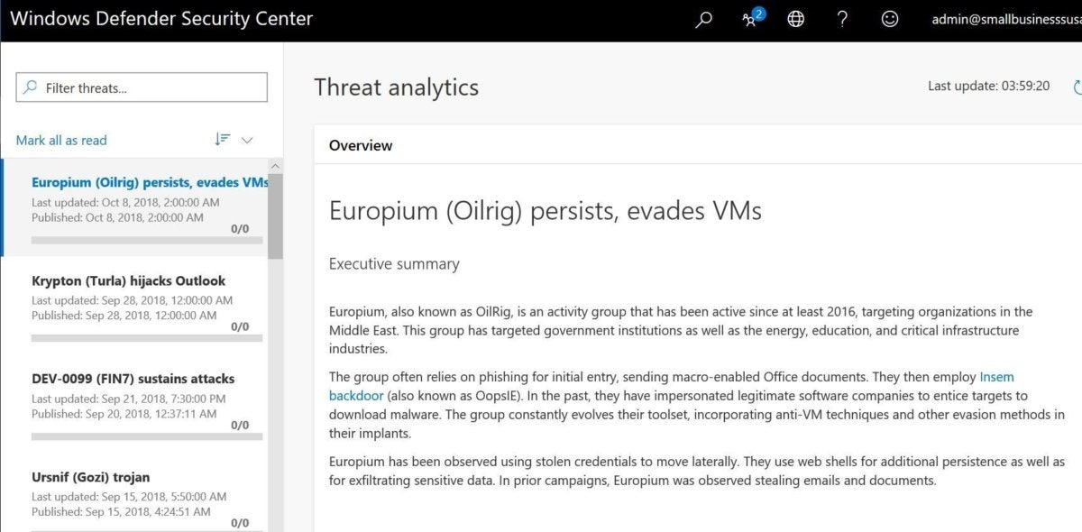 windows 1809 threat analytics dashboard
